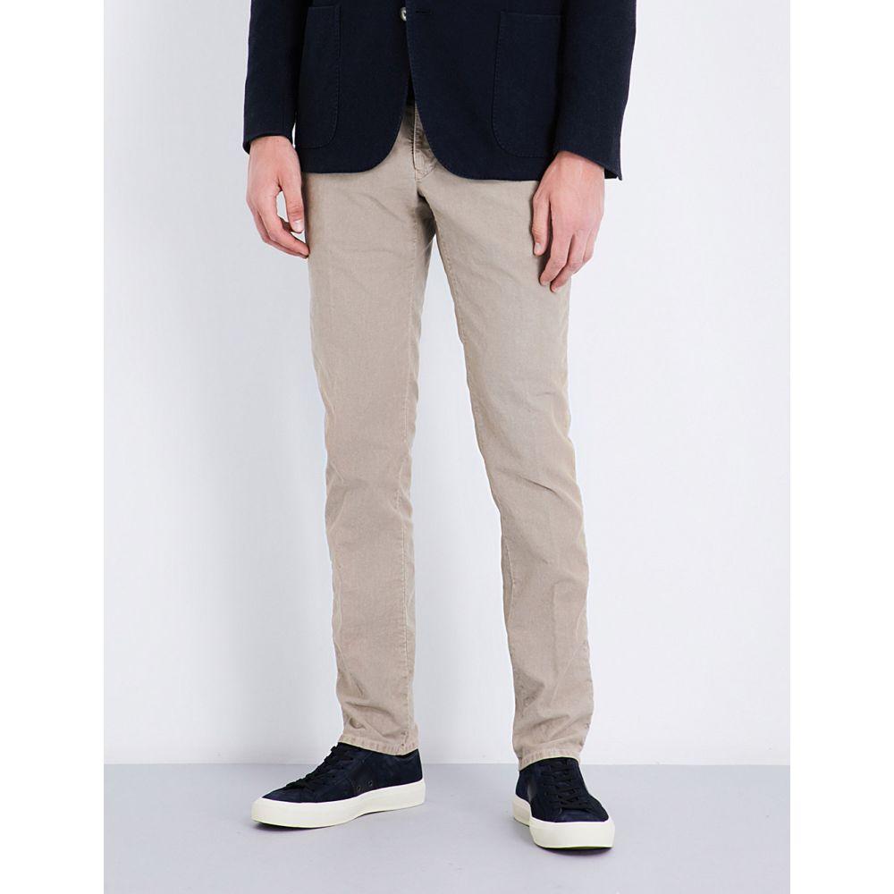 スローウエア メンズ ボトムス・パンツ スキニー・スリム【garment-dyed slim-fit stretch-cotton trousers】Beige