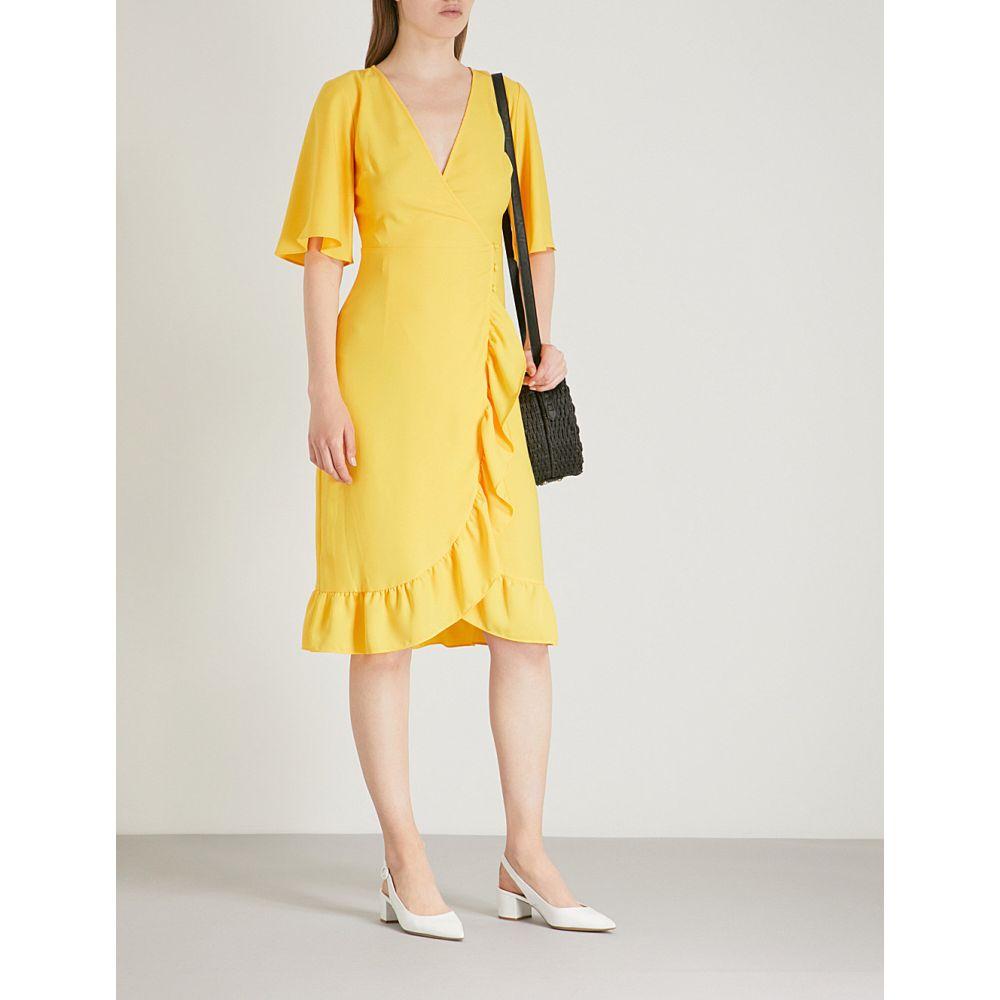 トップショップ レディース ワンピース・ドレス ワンピース【v-neck ruffled crepe wrap dress】Yellow