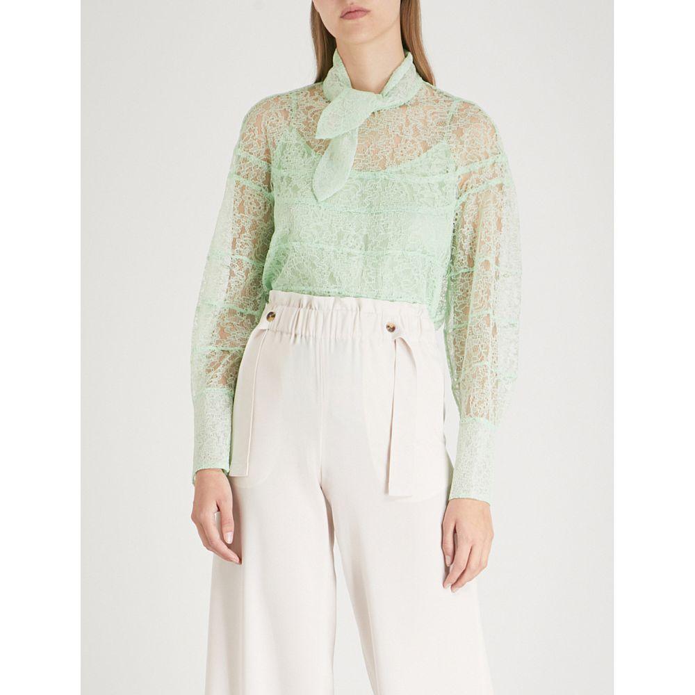 サンドロ レディース トップス【floral-lace woven top】Vert amande