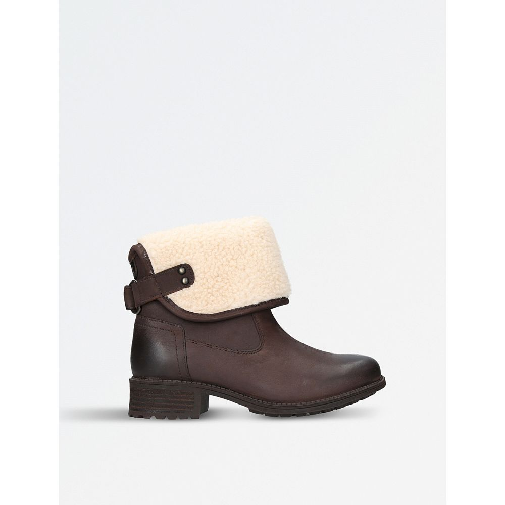 アグ レディース シューズ・靴 ブーツ【aldon wool-cuff leather boots】Dark brown