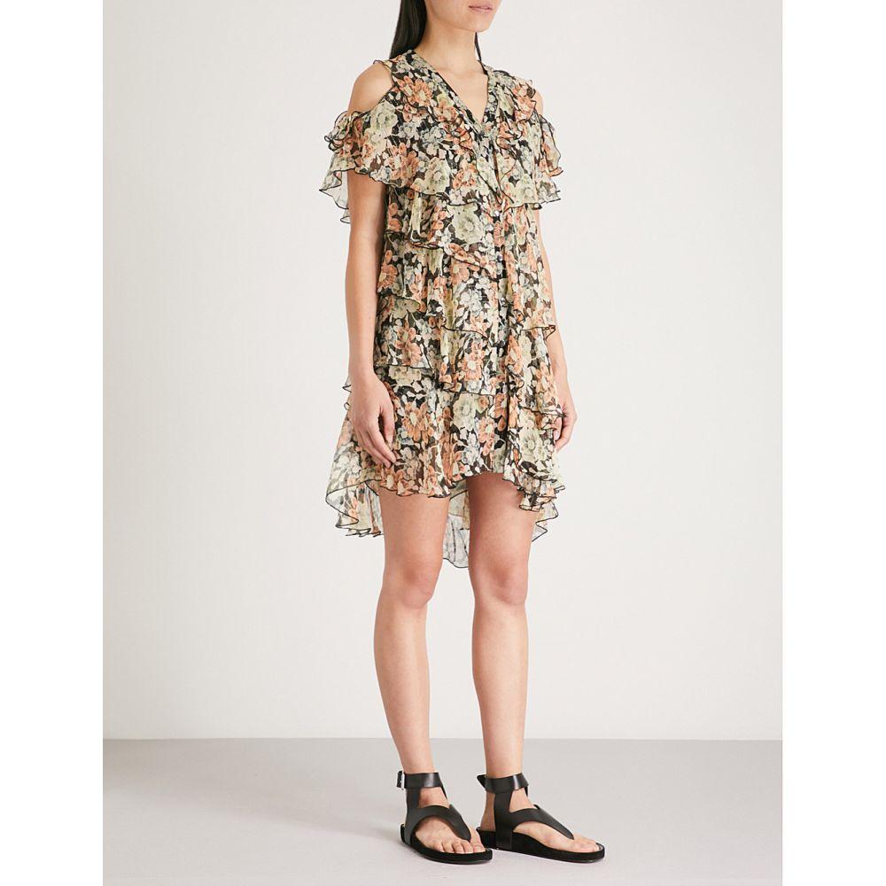 クーパース レディース ワンピース・ドレス ワンピース【wanted-print cold-shoulder silk-chiffon dress】Bla