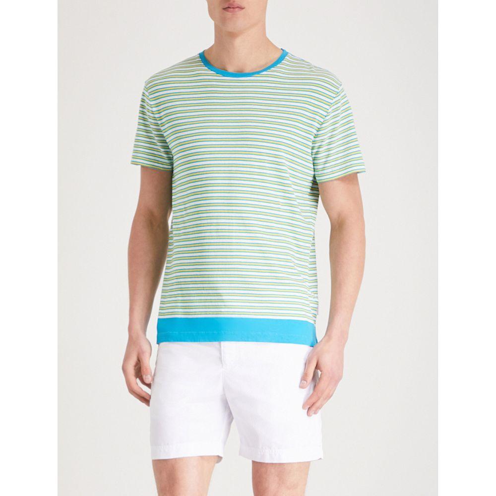 オールバー ブラウン メンズ トップス Tシャツ【striped-pattern cotton-linen blend t-shirt】Yellow blue