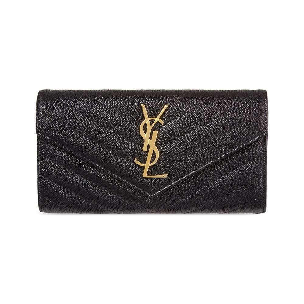 イヴ サンローラン レディース 財布【monogrammed quilted leather wallet】Black