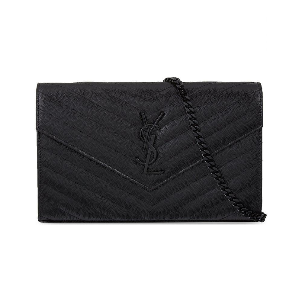 イヴ サンローラン レディース バッグ クラッチバッグ【monogram quilted leather envelope clutch】Black