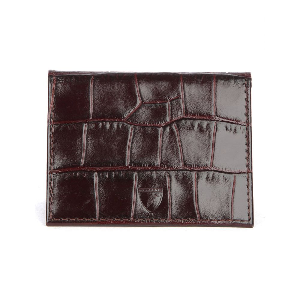 アスピナル オブ ロンドン メンズ カードケース・名刺入れ【id & travel crocodile-embossed leather card case】Amazon brown