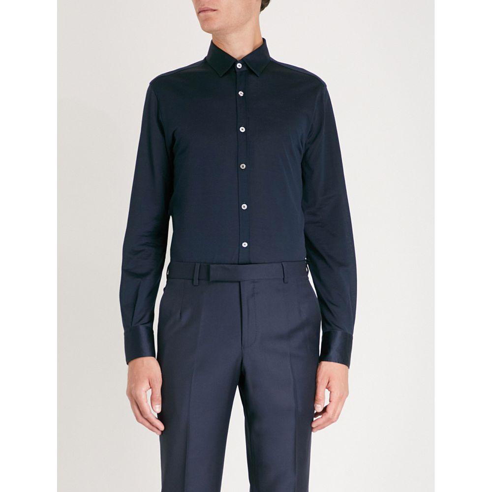 カナーリ メンズ トップス シャツ【modern-fit cotton-jersey shirt】Navy