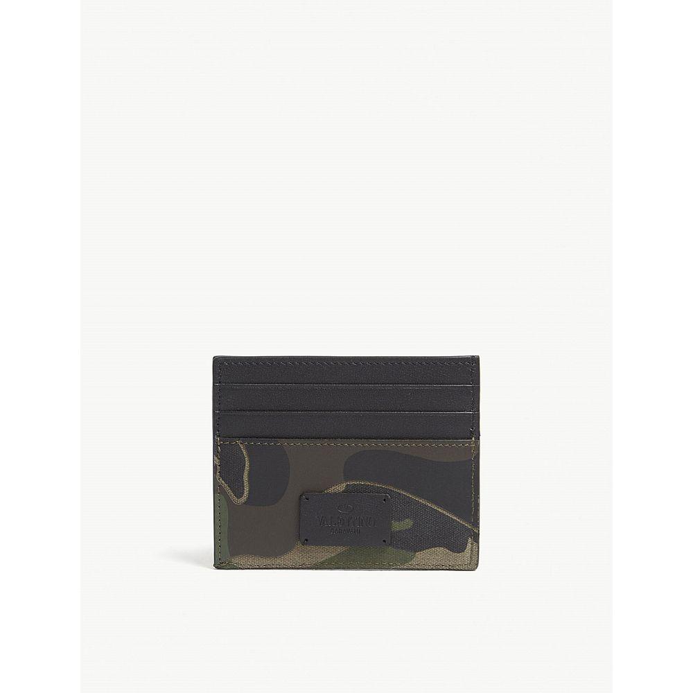 ヴァレンティノ メンズ カードケース・名刺入れ【camouflage leather card holder】Army green