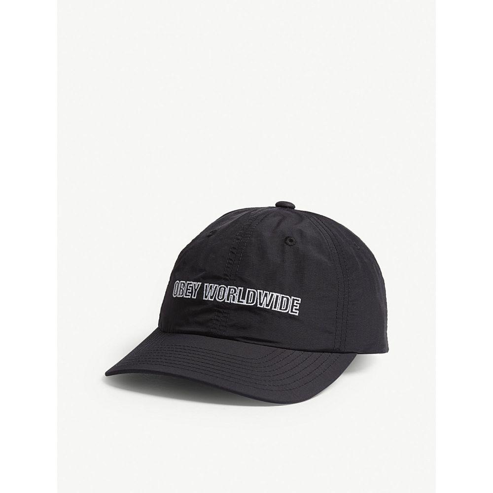 オベイ メンズ 帽子 キャップ【logo nylon baseball cap】Black