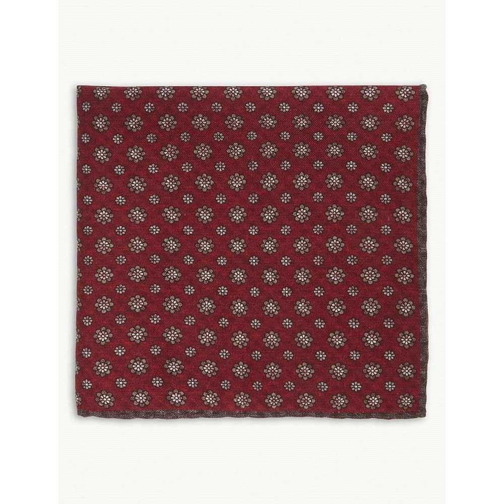 イレブンティ メンズ ハンカチ・チーフ【check floral cotton-wool pocket square】Red