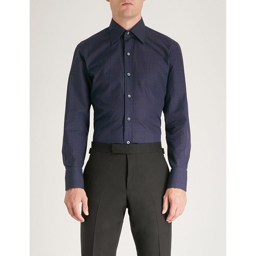 トム フォード メンズ トップス シャツ【checked tailored-fit cotton shirt】Blue