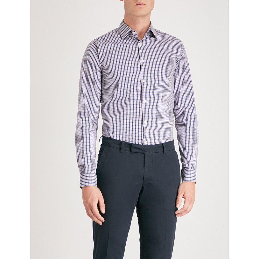 タイガー オブ スウェーデン メンズ トップス シャツ【brody checked extra slim-fit cotton-blend shirt】Multi