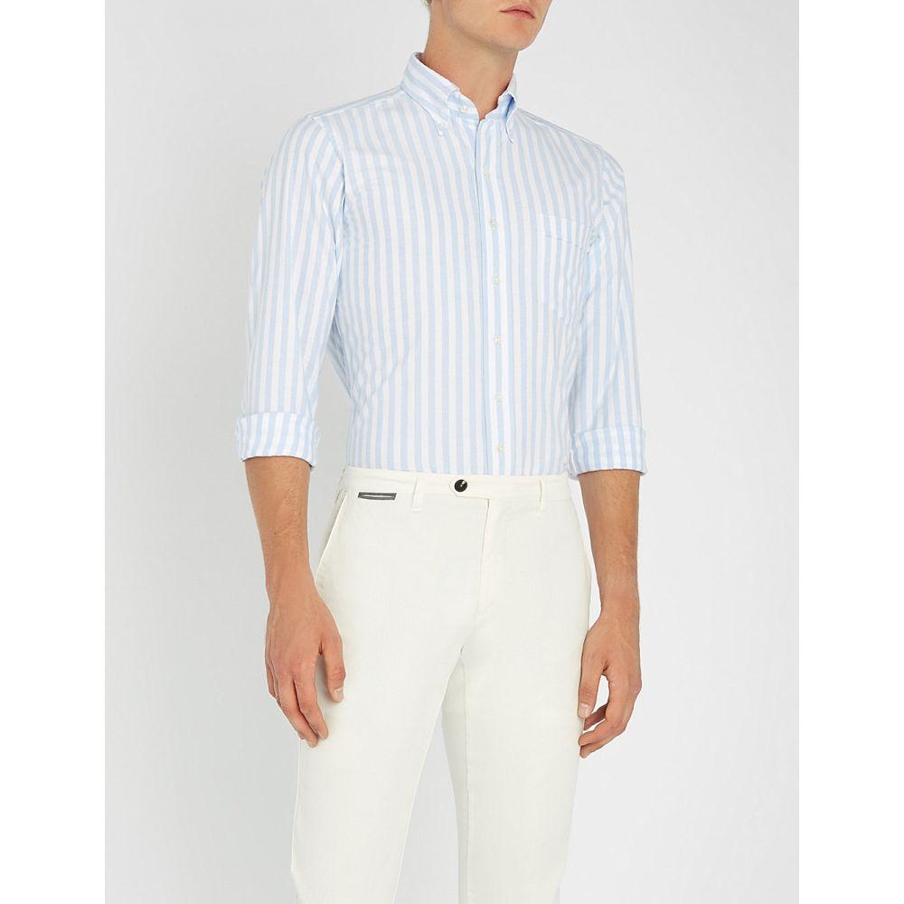 ドレイクス メンズ トップス シャツ【bengal striped regular-fit cotton shirt】Pale blue
