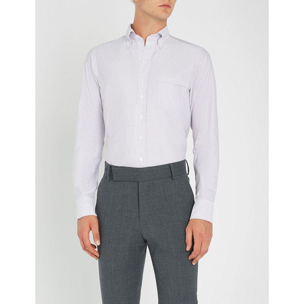 ドレイクス メンズ トップス シャツ【bengal striped slim-fit cotton oxford shirt】Lilac