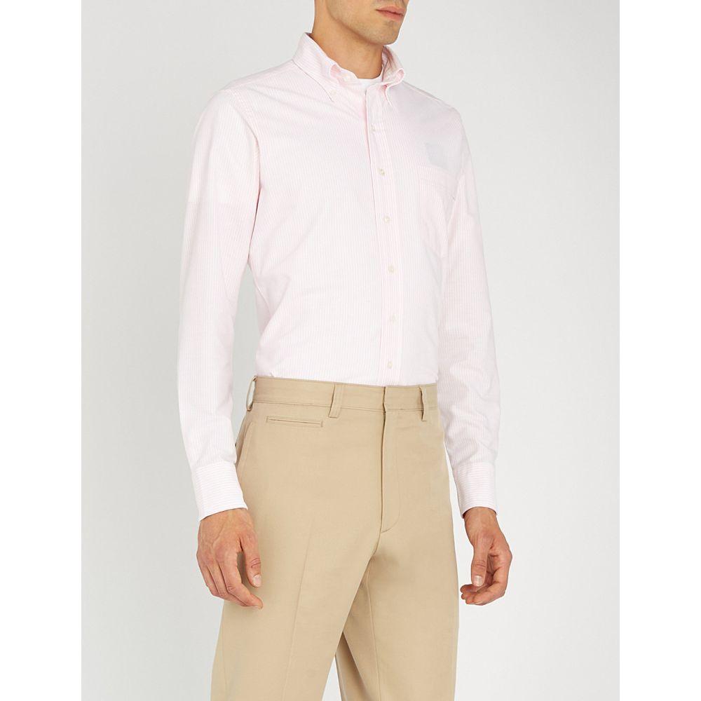 ドレイクス メンズ トップス シャツ【bengal striped slim-fit cotton oxford shirt】Pale pink