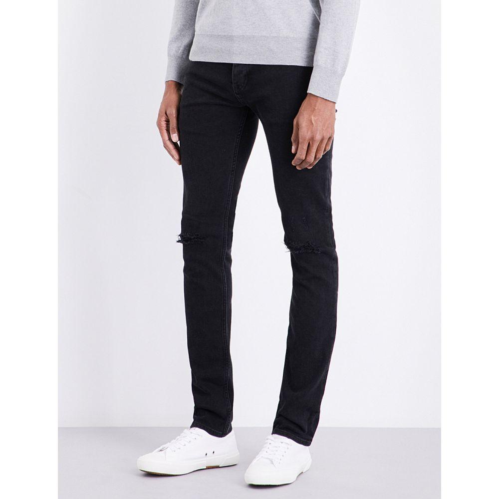 サンドロ メンズ ボトムス・パンツ ジーンズ・デニム【distressed mid-rise slim-fit jeans】Noir