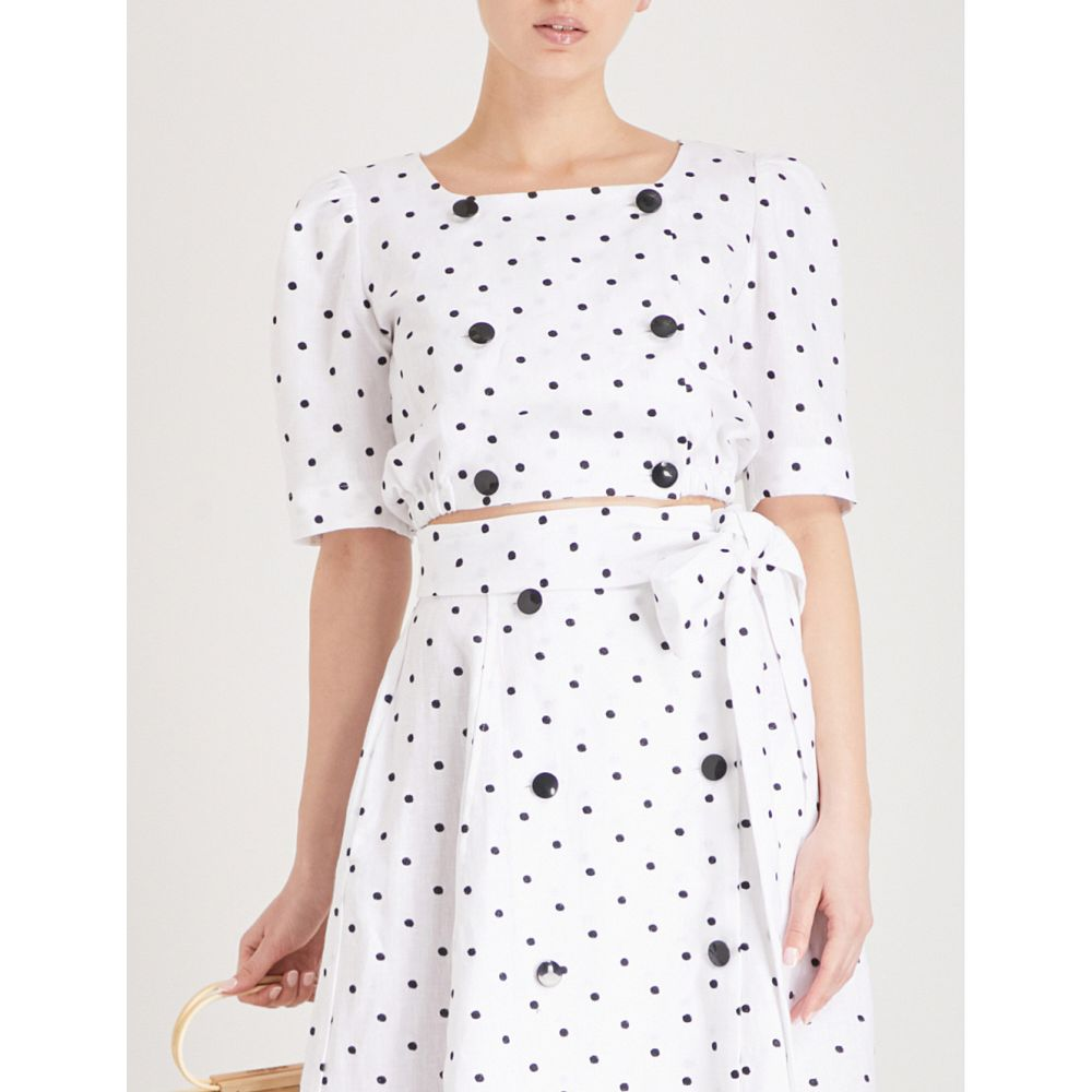 リサ マリー フェルナンデス レディース 水着・ビーチウェア ビーチウェア【diana polka dot-embroidered linen top】White black