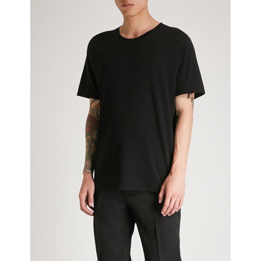 イヴ サンローラン メンズ トップス Tシャツ【logo-print cotton-jersey t-shirt】Black