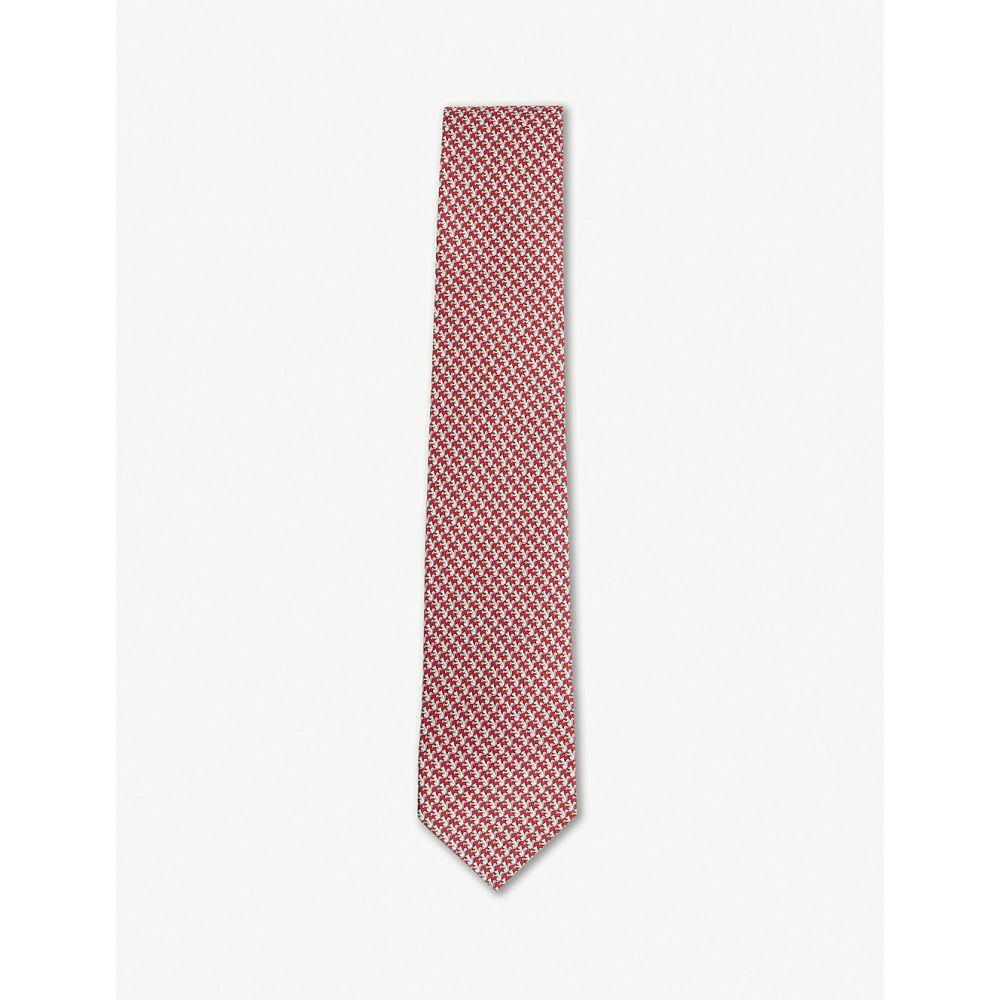 サルヴァトーレ フェラガモ メンズ ネクタイ【squirrel print silk tie】Red