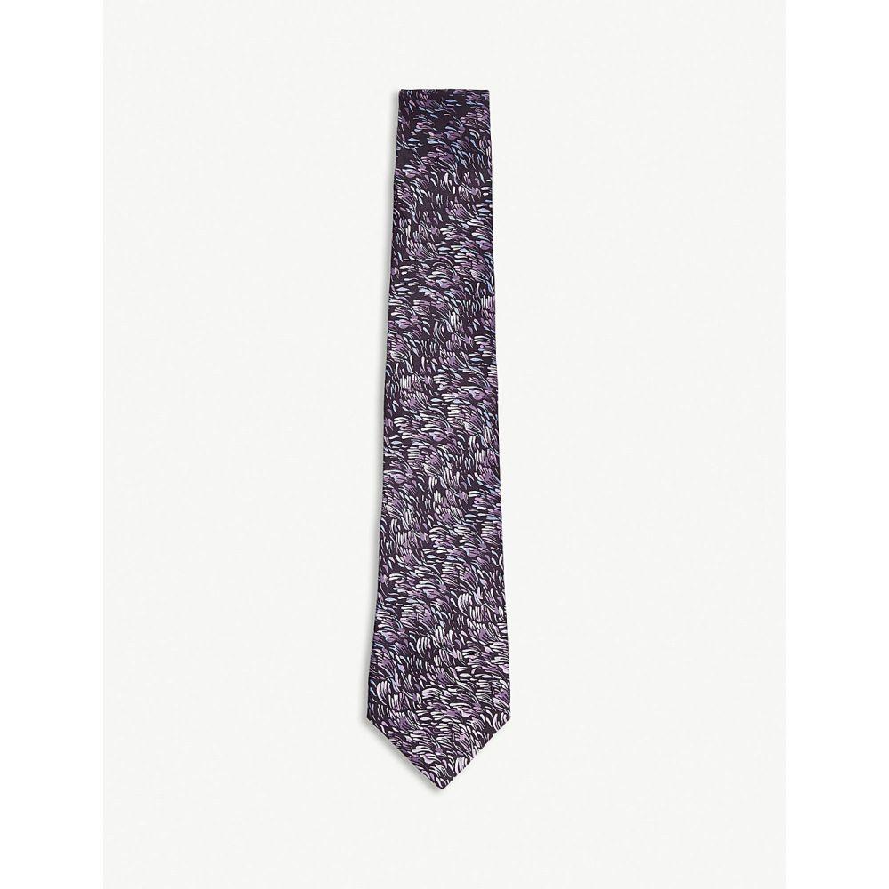 ランバン メンズ ネクタイ【painted petal silk tie】Plum