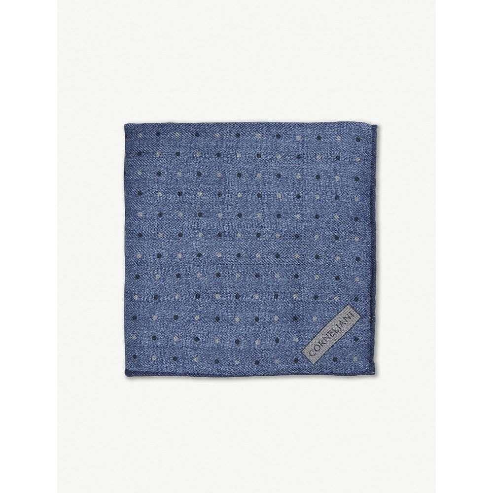 コルネリアーニ メンズ ハンカチ・チーフ【polka dot pocket square】Blue