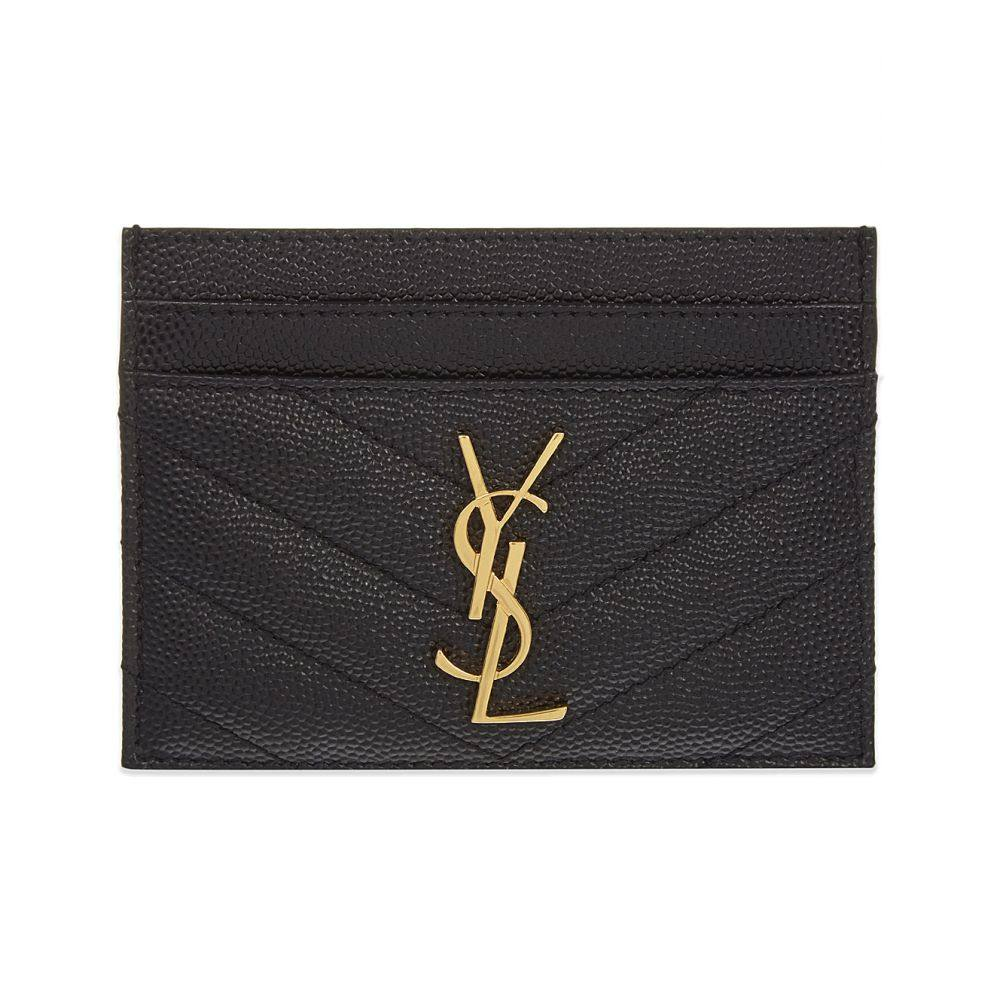 イヴ サンローラン レディース カードケース・名刺入れ【monogram quilted leather card holder】Black