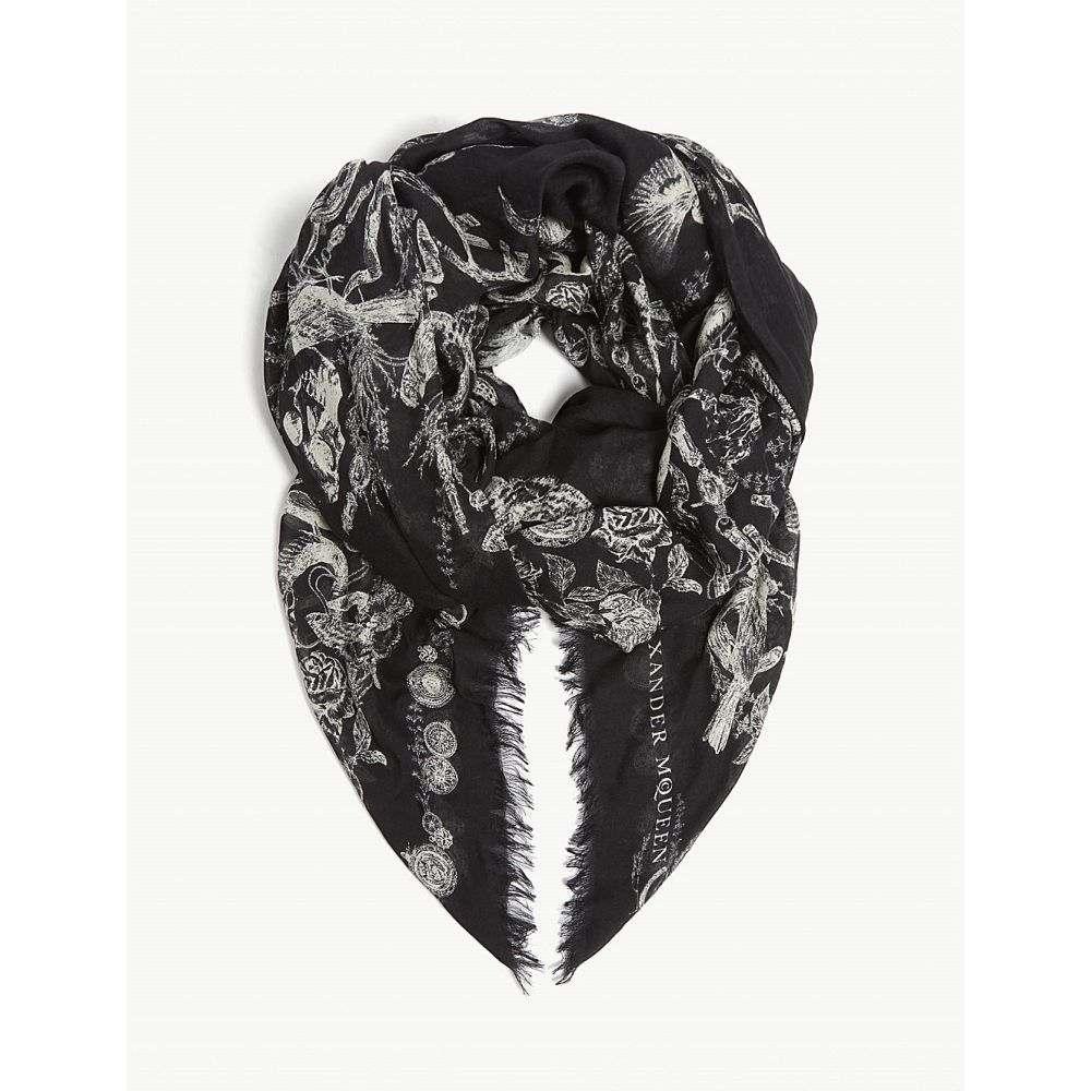 アレキサンダー マックイーン メンズ マフラー・スカーフ・ストール【wild treasure print modal-silk scarf】Black ivory