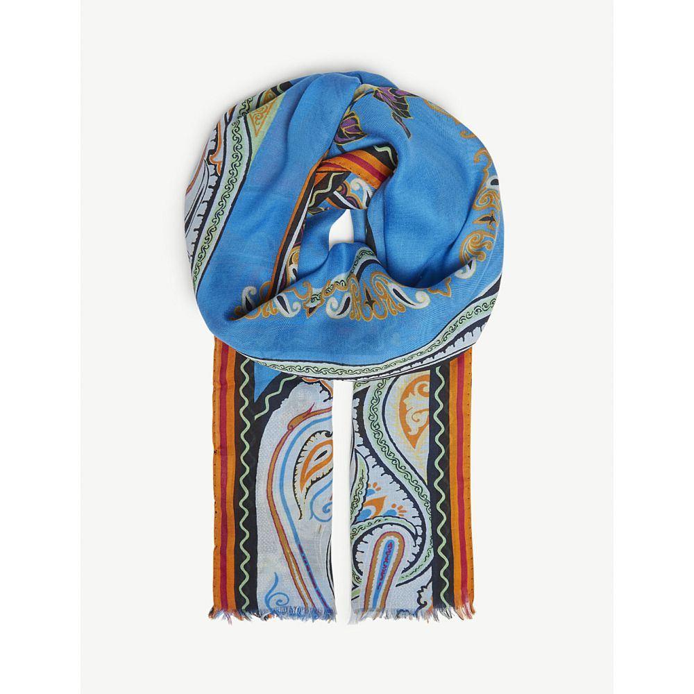 エトロ レディース マフラー・スカーフ・ストール【delhy printed modal-blend scarf】Blue
