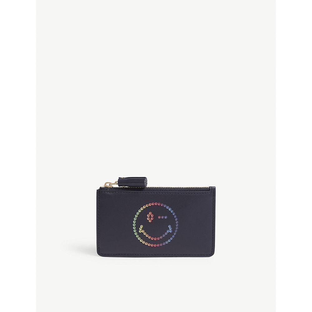 アニヤ ハインドマーチ レディース カードケース・名刺入れ【rainbow wink leather card holder with keychain】Marine