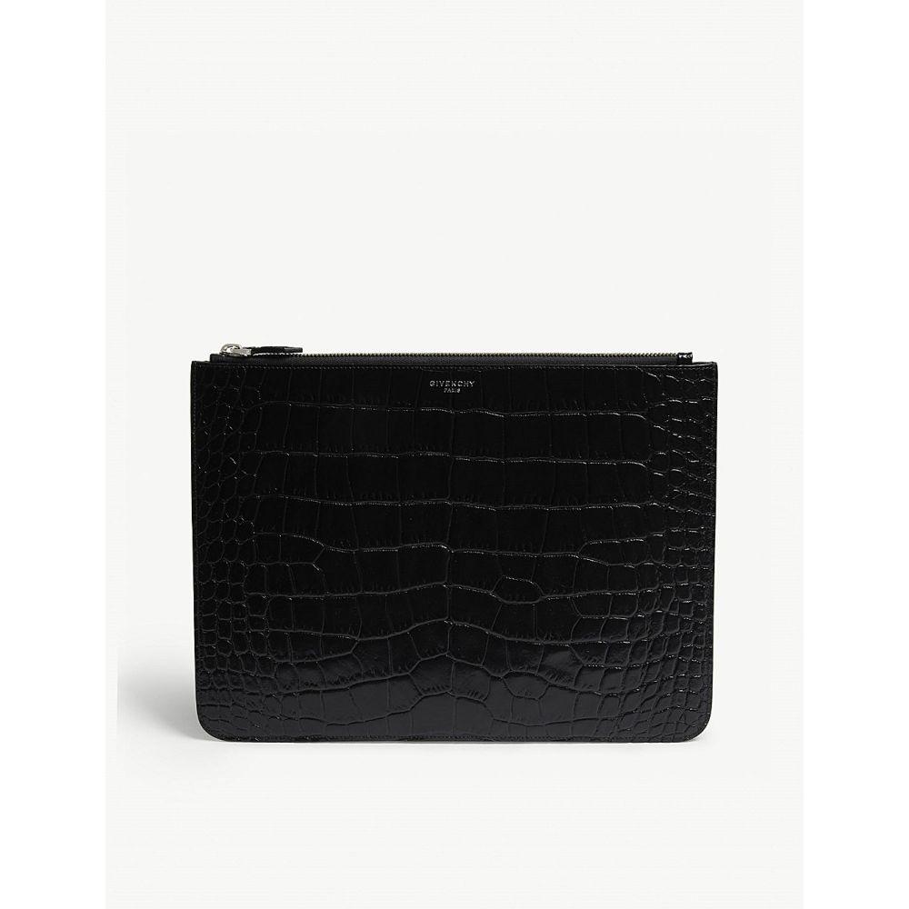 ジバンシー メンズ ポーチ【croc-embossed large leather pouch】Black
