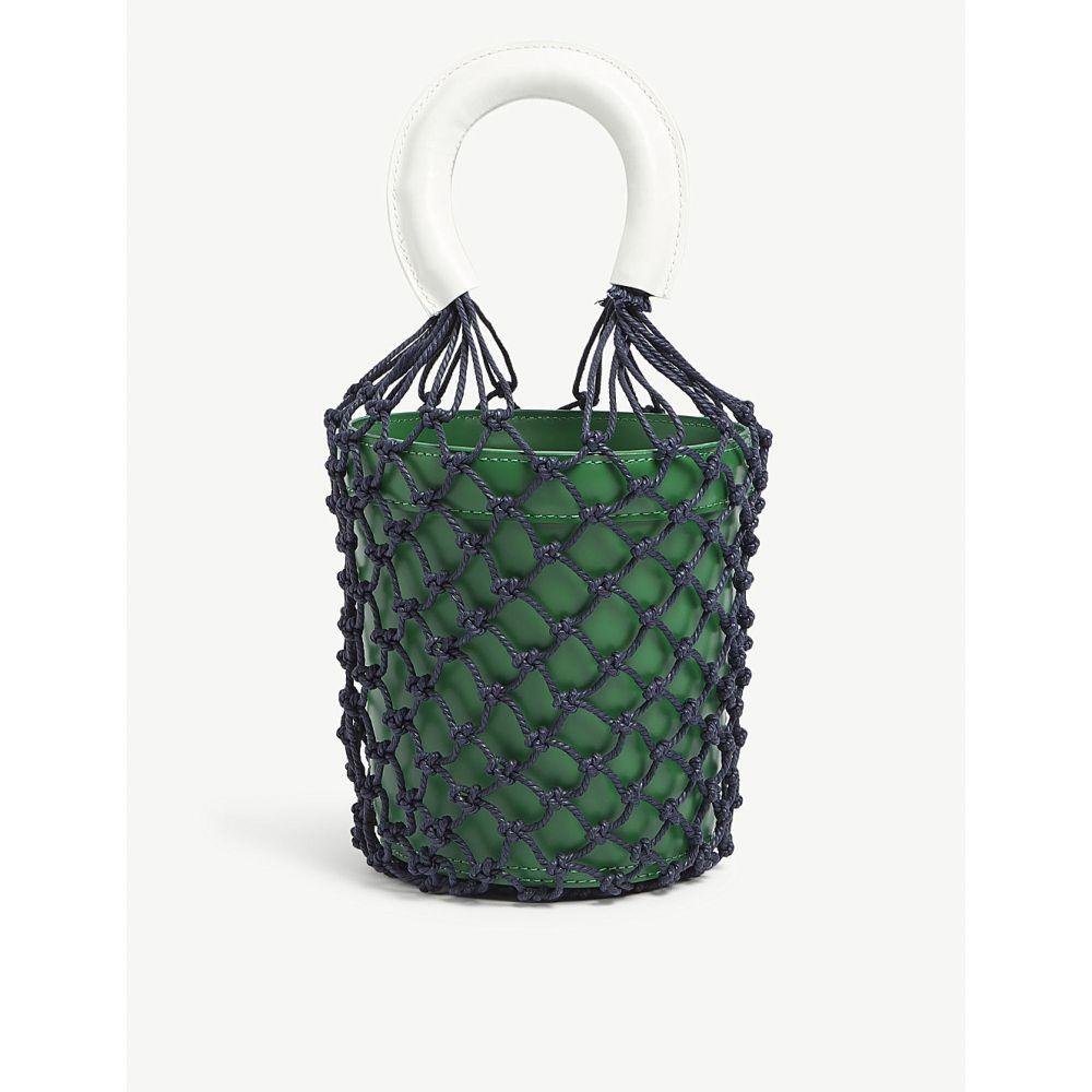 スタッド レディース バッグ ハンドバッグ【moreau netted leather bucket bag】Green / white / navy