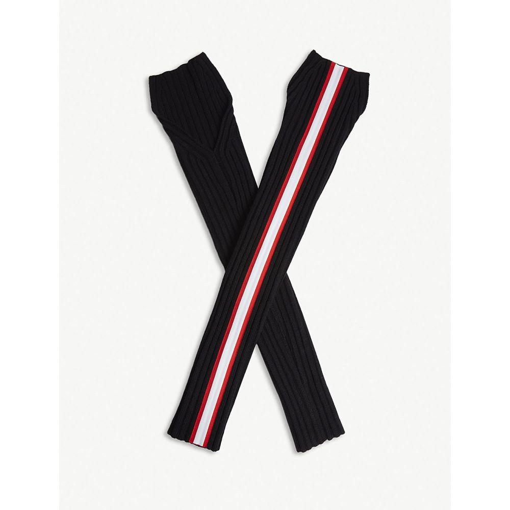 カルバンクライン レディース 手袋・グローブ【striped wool-blend sleeves】Black/red/white