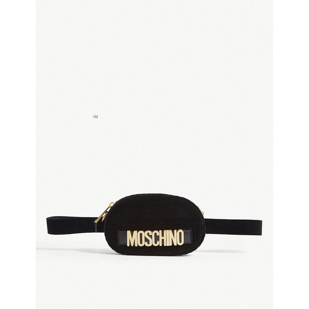 モスキーノ レディース バッグ ボディバッグ・ウエストポーチ【logo-embellished velvet bumbag】Black