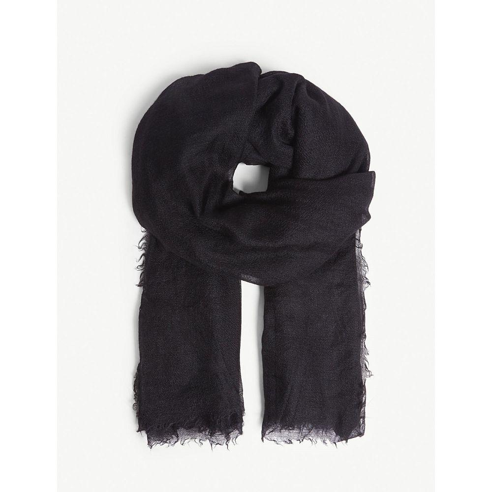 リック オウエンス メンズ マフラー・スカーフ・ストール【sandy cashmere silk-blend scarf】Black