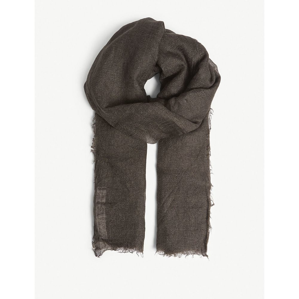 リック オウエンス メンズ マフラー・スカーフ・ストール【sandy cashmere silk-blend scarf】Dark dust