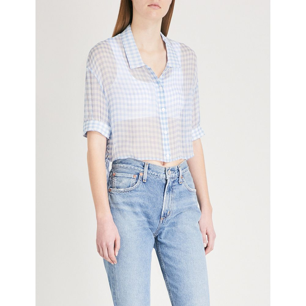 クーパース レディース トップス ブラウス・シャツ【gingham-pattern silk-crepe shirt】Blu