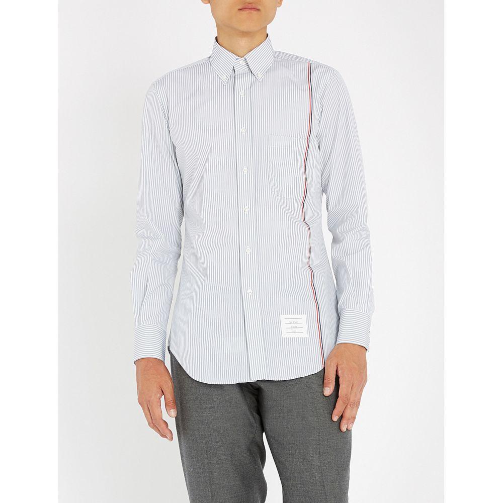 トム ブラウン メンズ トップス シャツ【striped slim-fit cotton shirt】Med grey