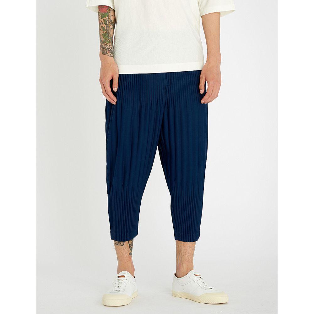 イッセイ ミヤケ メンズ ボトムス・パンツ クロップド【relaxed-fit cropped pleated trouser】Blue