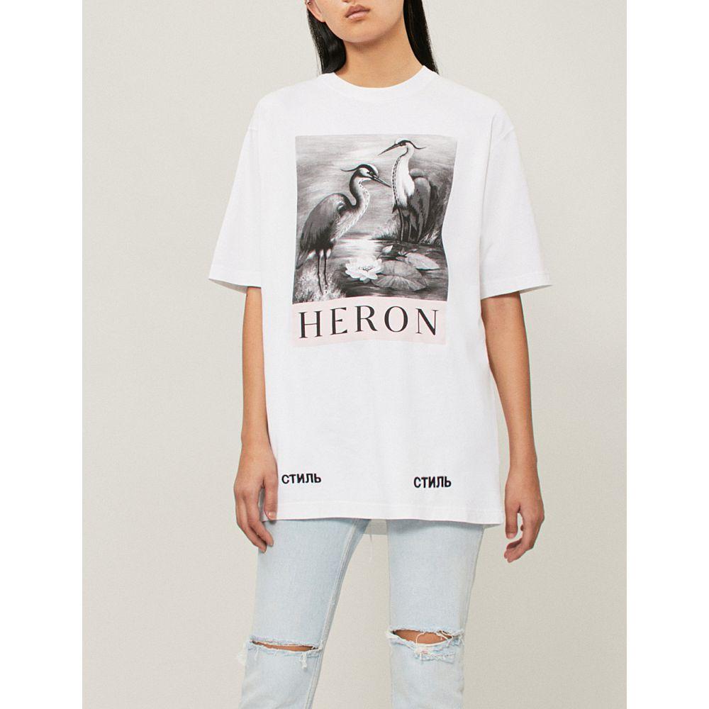 ヘロン プレストン レディース トップス Tシャツ【heron-print cotton-jersey t-shirt】White