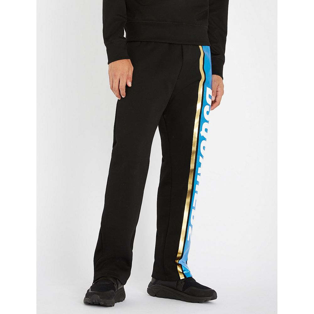 ディースクエアード メンズ ボトムス・パンツ【metallic cotton-jersey jogging bottoms】Black blue