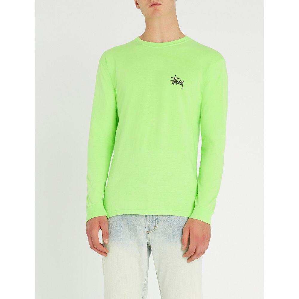ステューシー メンズ トップス 長袖Tシャツ【logo-print cotton-jersey top】Green