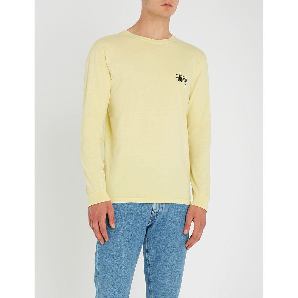 ステューシー メンズ トップス 長袖Tシャツ【logo-print cotton-jersey top】Yellow