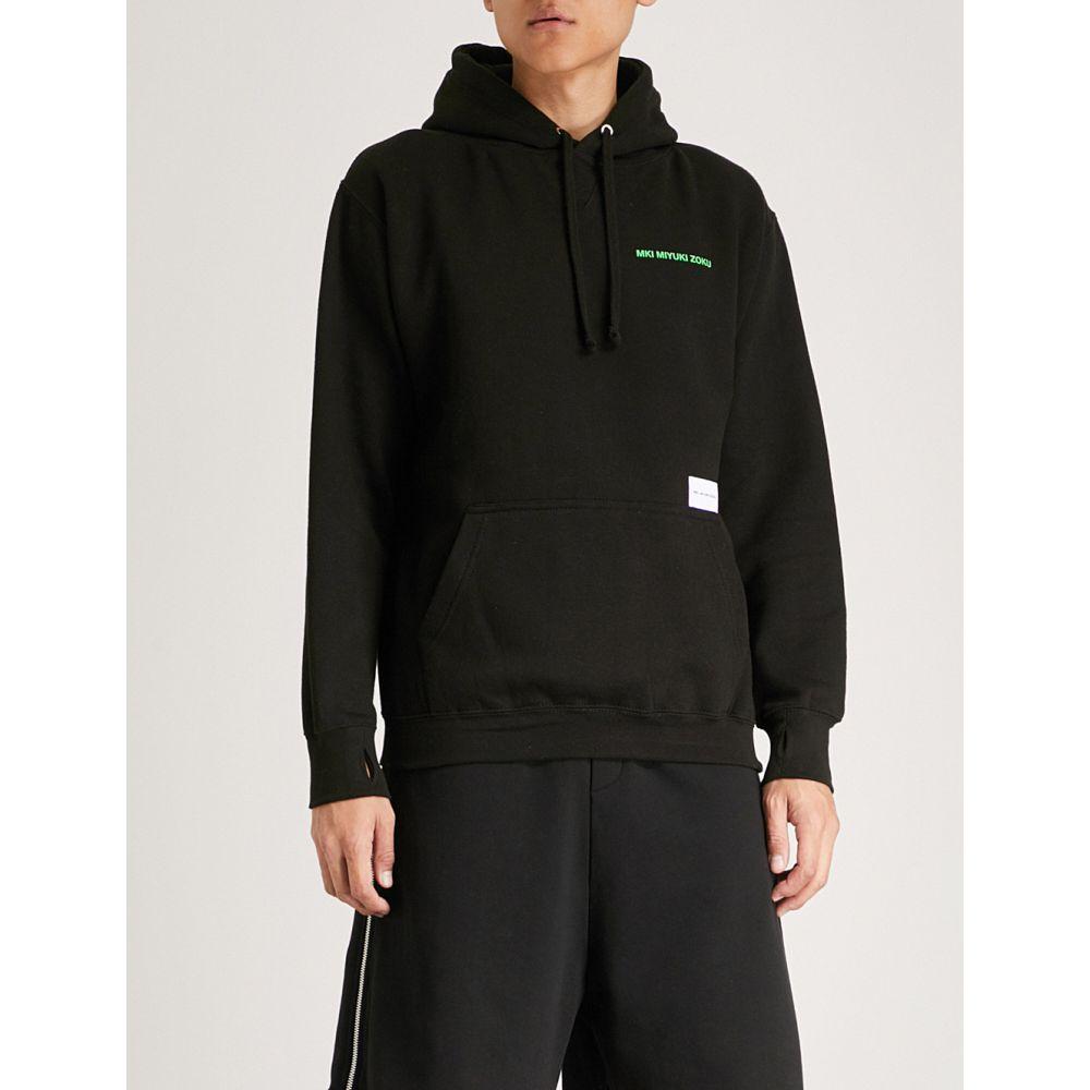 ミキミユキゾク メンズ トップス パーカー【logo-embroidered cotton-jersey hoody】Black / green