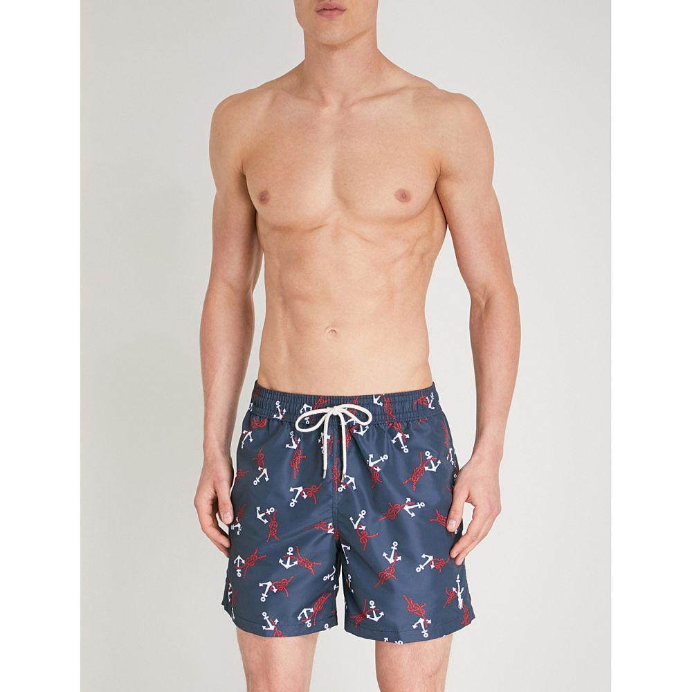 ラルフ ローレン メンズ 水着・ビーチウェア 海パン【traveller relaxed-fit anchor-print swim shorts】Navy white