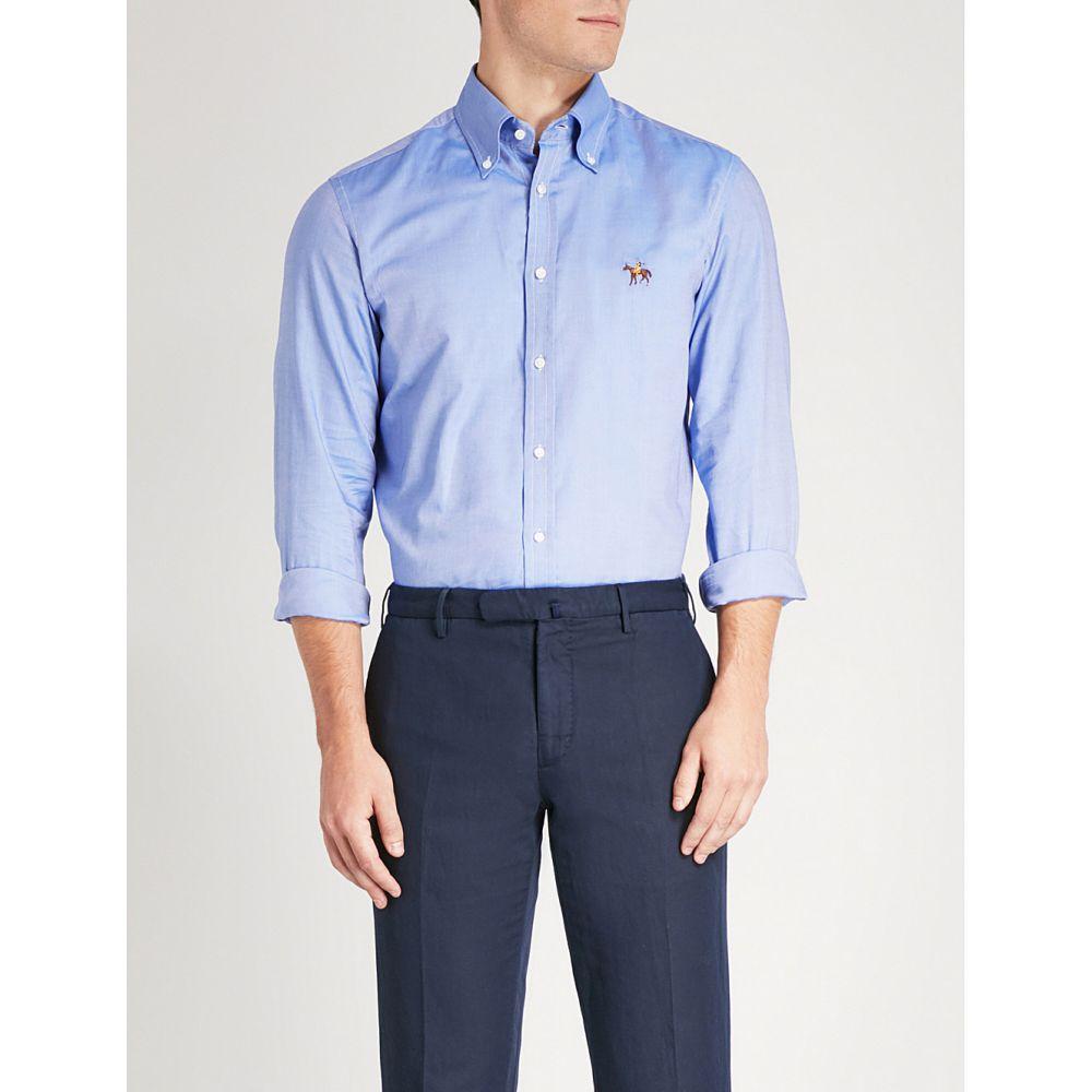 ラルフ ローレン メンズ トップス シャツ【logo-embroidered regular-fit cotton shirt】Blue