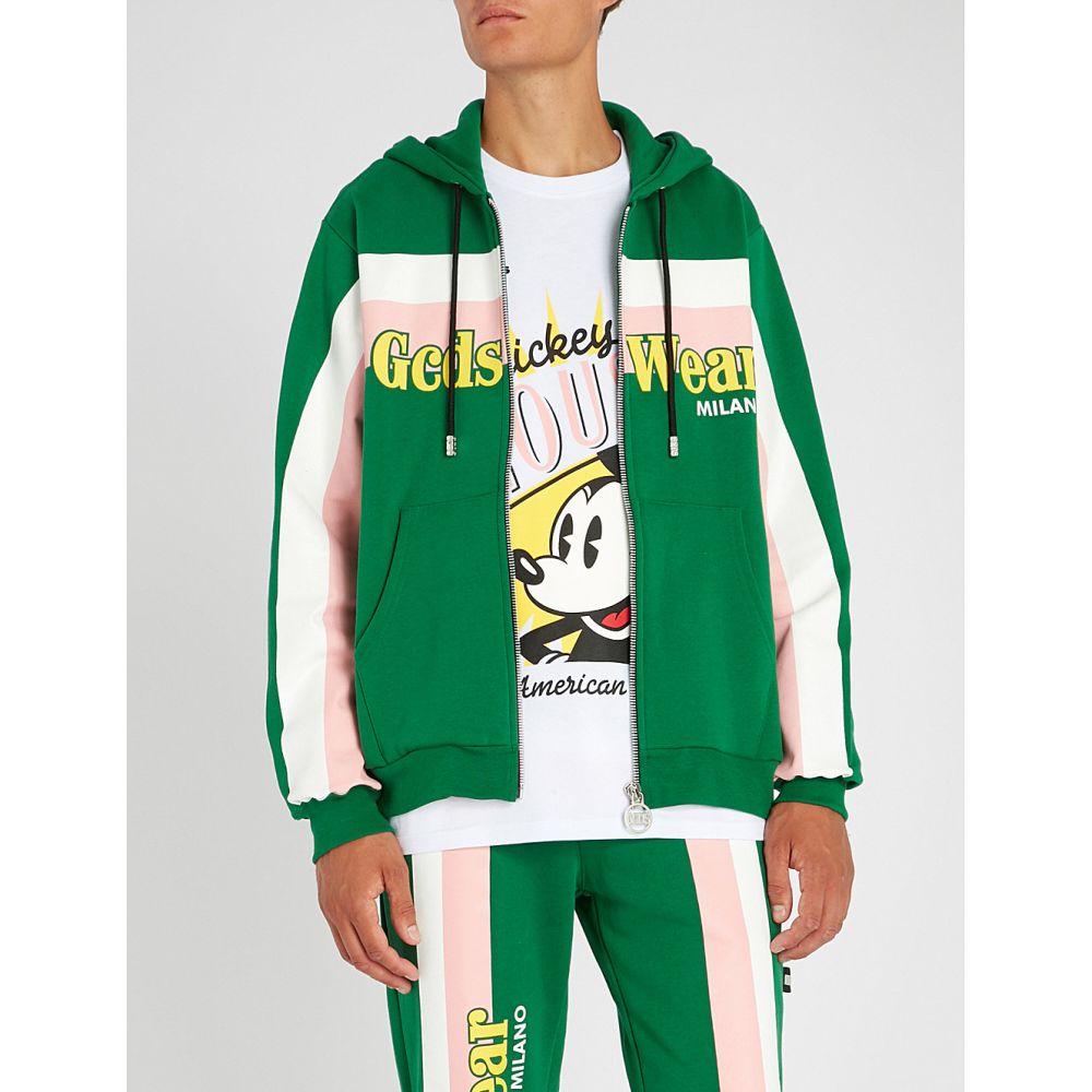 ジーシーディーエス メンズ トップス パーカー【striped cotton-jersey hoody】Green