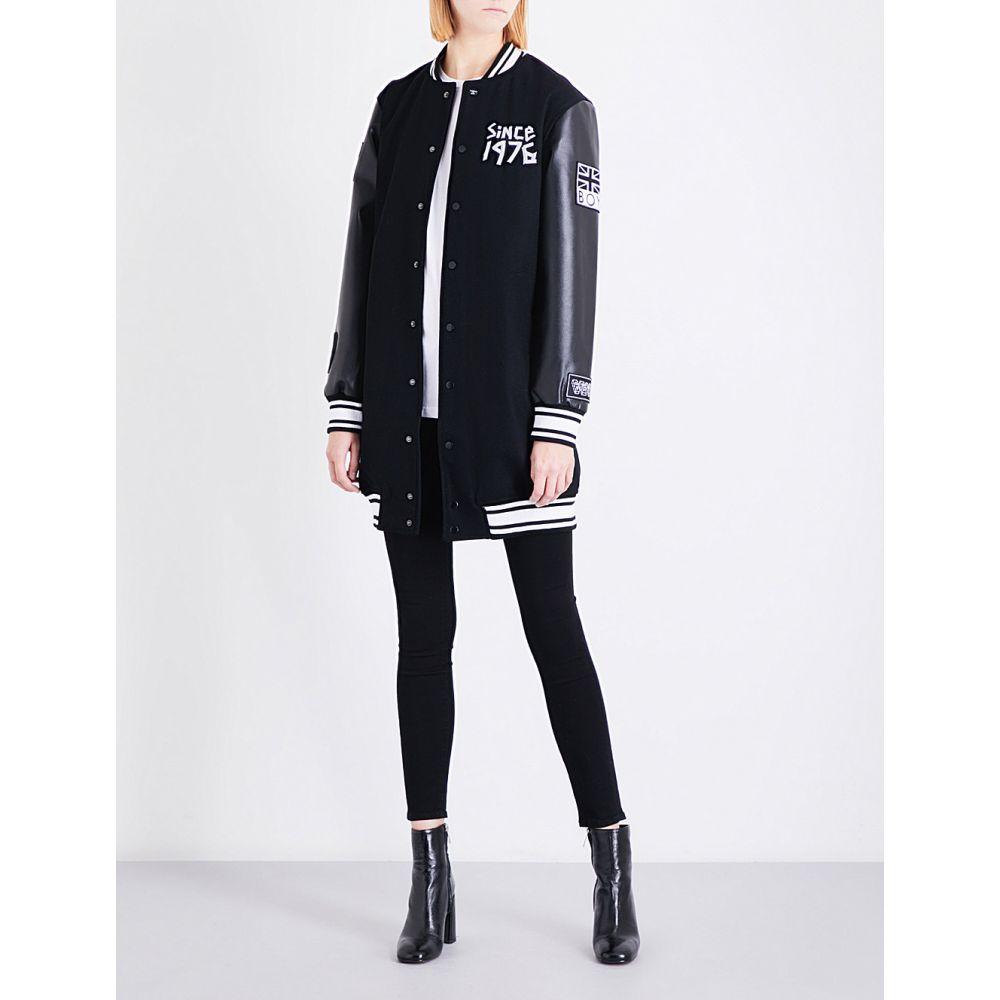 ボーイロンドン レディース アウター ブルゾン【tape-print wool-blend varsity jacket】Black white
