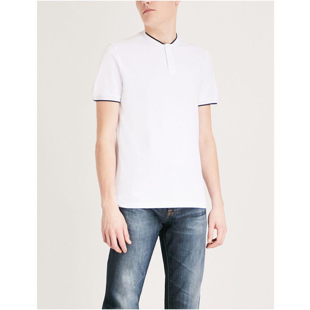 サンドロ メンズ トップス Tシャツ【contrast-trim cotton t-shirt】Blanc