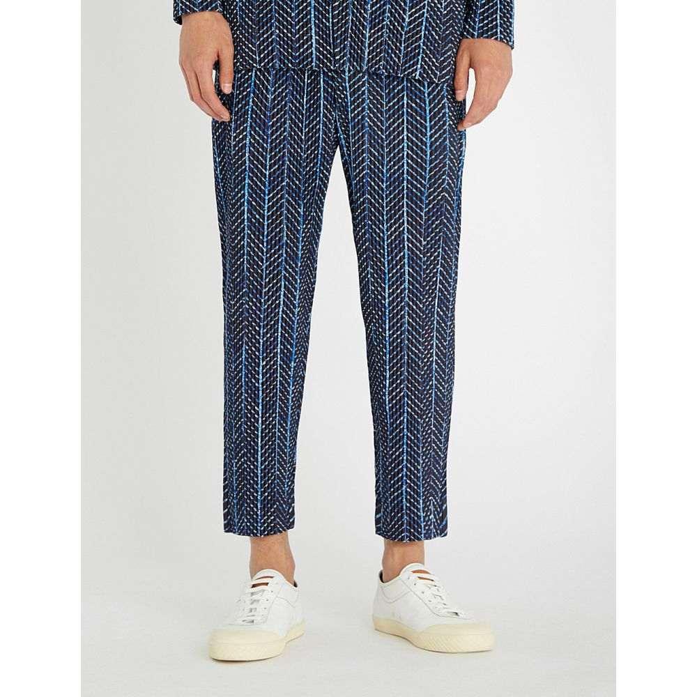 イッセイ ミヤケ メンズ ボトムス・パンツ【pleated straight-leg crepe trousers】Blue
