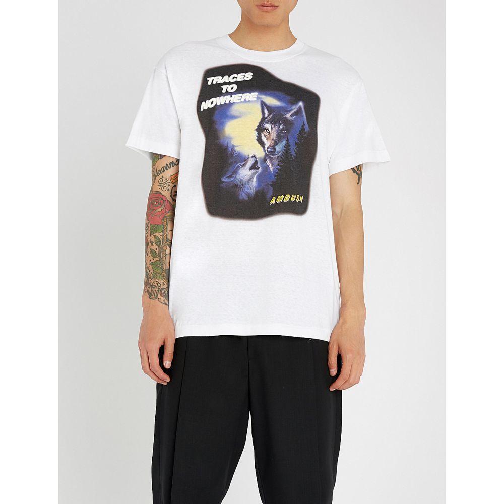 アンブッシュ メンズ トップス Tシャツ【wolf-print cotton-jersey t-shirt】White