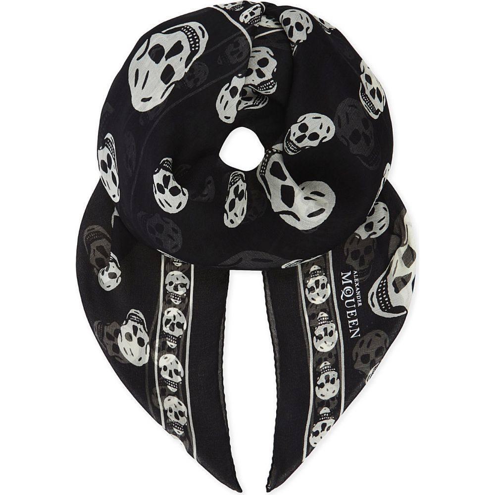 アレキサンダー マックイーン レディース マフラー・スカーフ・ストール【skull print silk scarf】Black/ivory